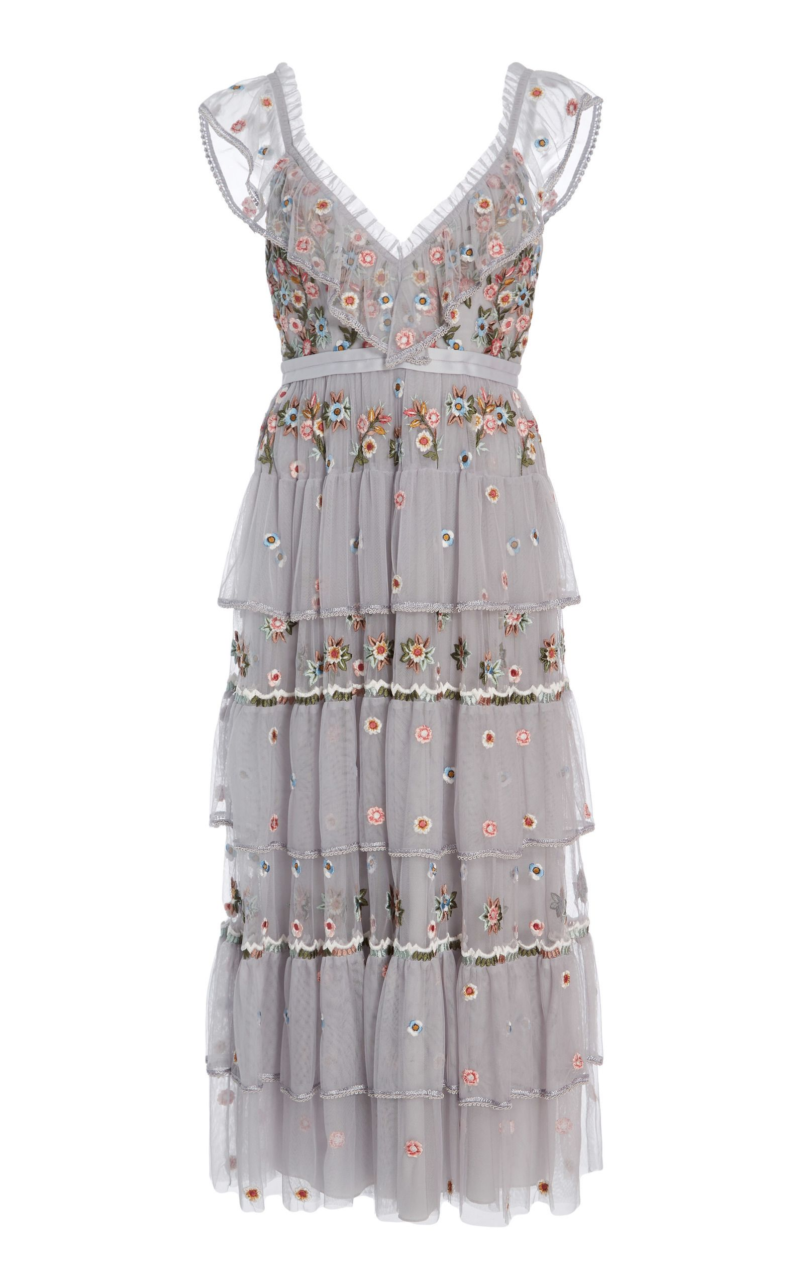 957a36e1fa Whimsical Embroidered Midi Dress by NEEDLE   THREAD for Preorder on Moda  Operandi
