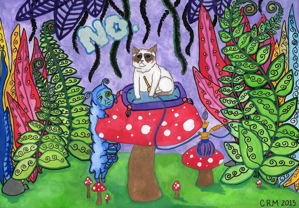 Grumpy cat in Wonderland. Watercolors, ink and acrylic on 8x11in art stock paper.