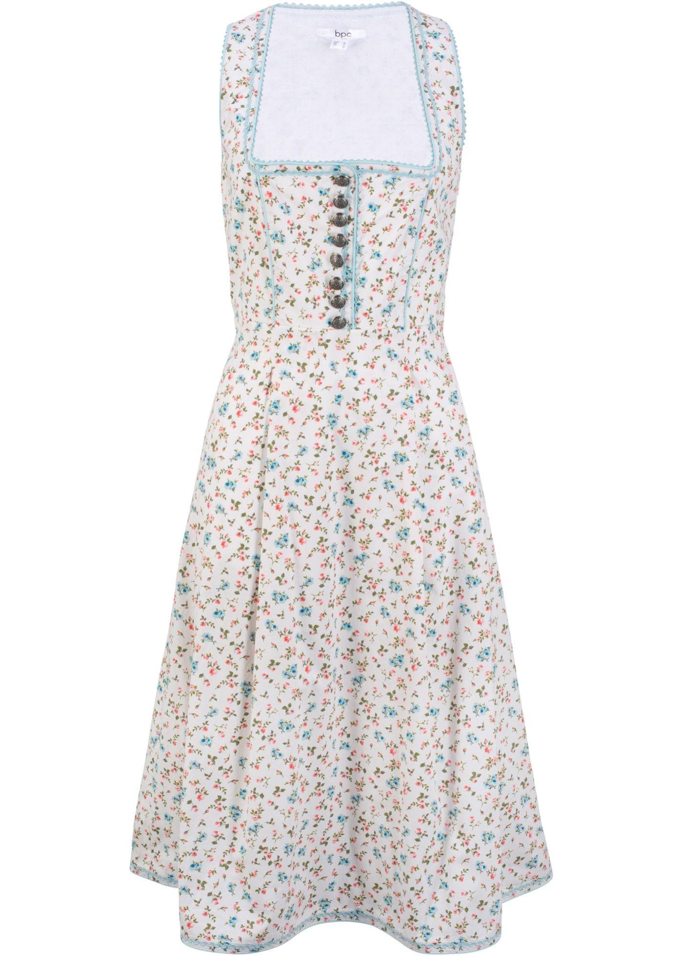 schönes dirndl- kleid mit all - over blumenprint - weiß