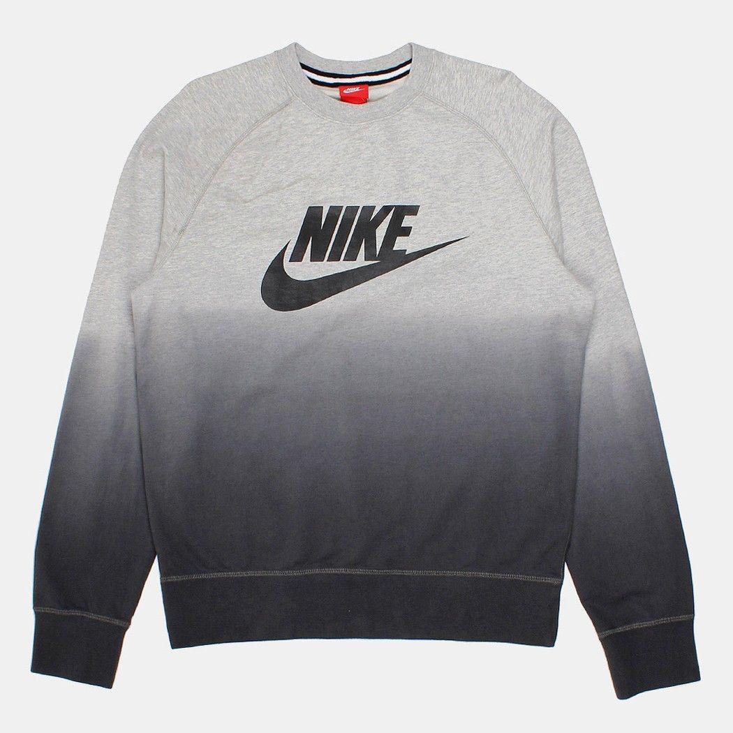 Nike Sportswear AIR CREWNECK - Sudadera - black/grey QTiOfFt