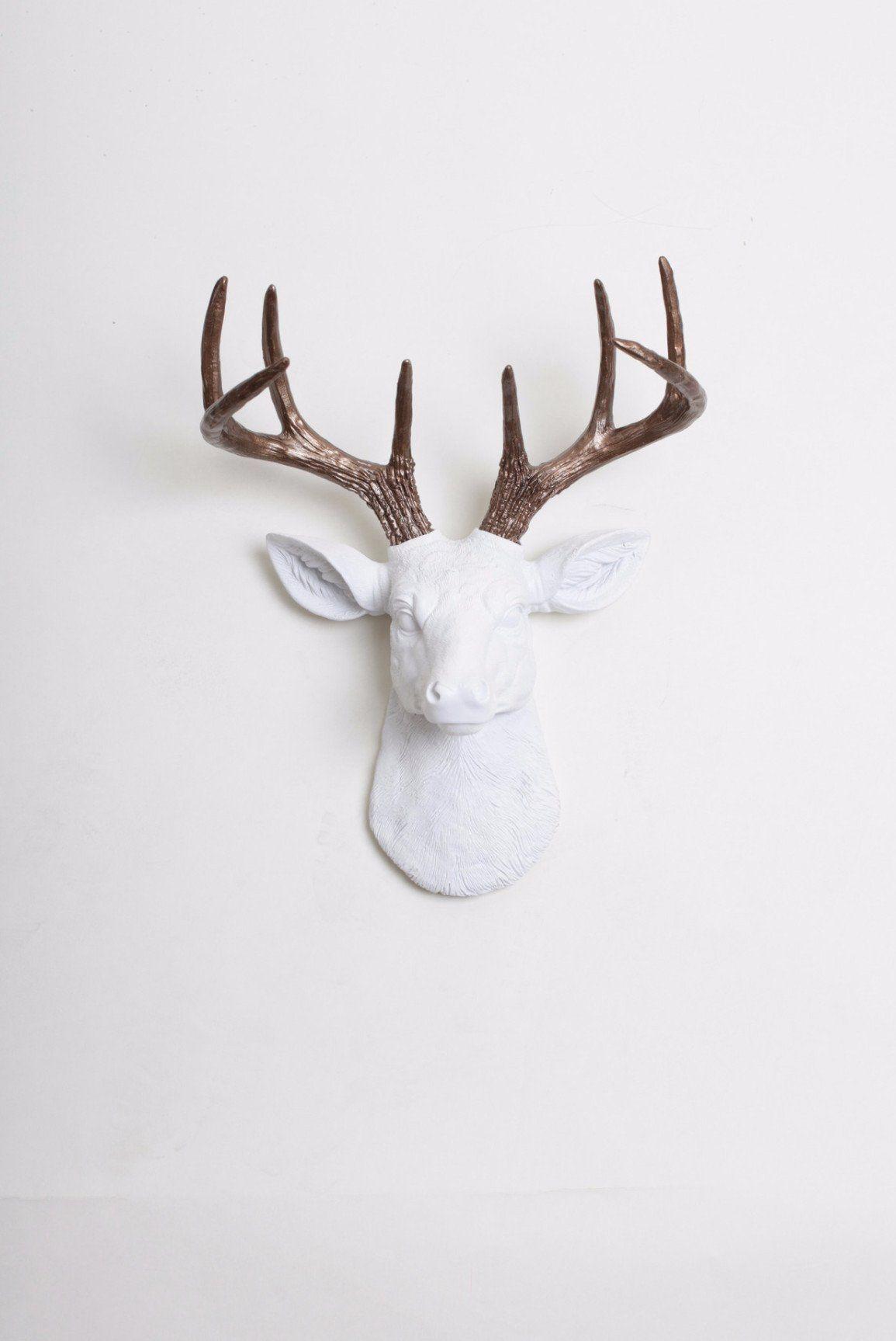 The Mini Lydia Faux Deer Head Wall Art White Resin Stag W Bronze Antlers Deer Head Wall Art Faux Deer Faux Deer Head Wall