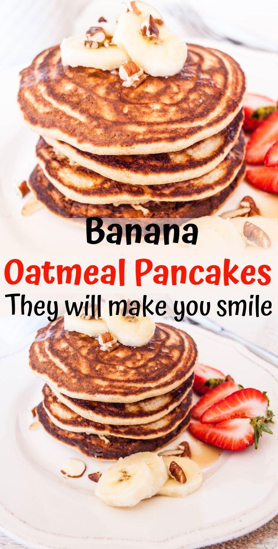 Bananen-Haferflocken-Pfannkuchen - gesundes, zuckerfreies Wochenendfrühstück -