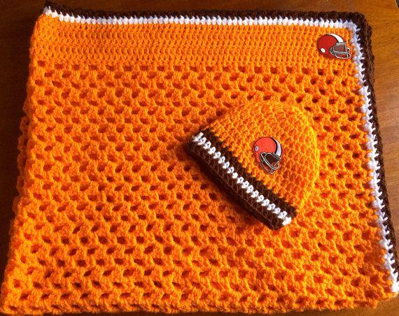 Newborn Crochet Football Hat Cleveland Browns Photo Prop Knit Hat Brown Orange