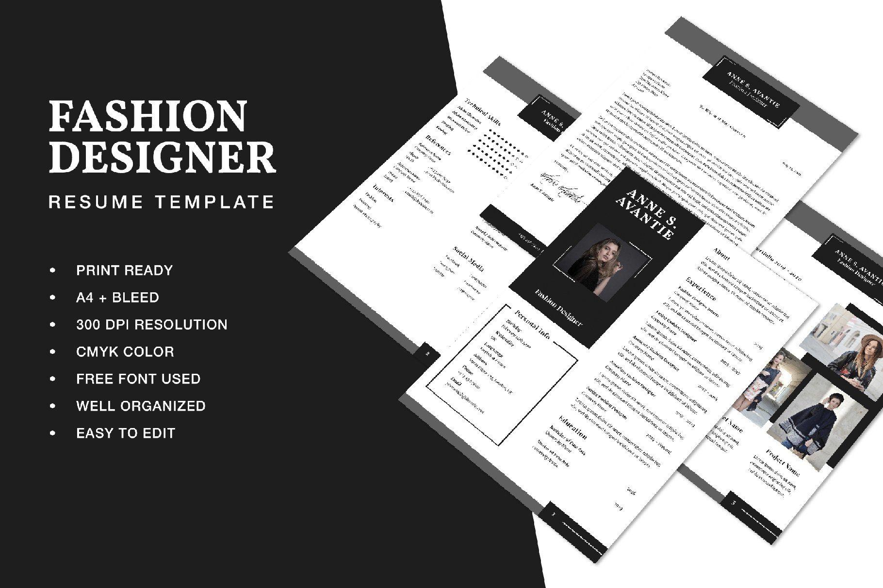 Fashion designer resume cv template by formatika studio on