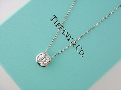 1b970545c Tiffany Co Platinum 1 00ct I VVS1 Lucida Diamond Solitaire Pendant Necklace  | eBay