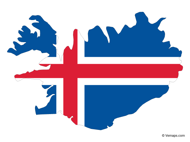 Flag Map Of Iceland Free Vector Maps Iceland Map Map Vector Iceland Flag