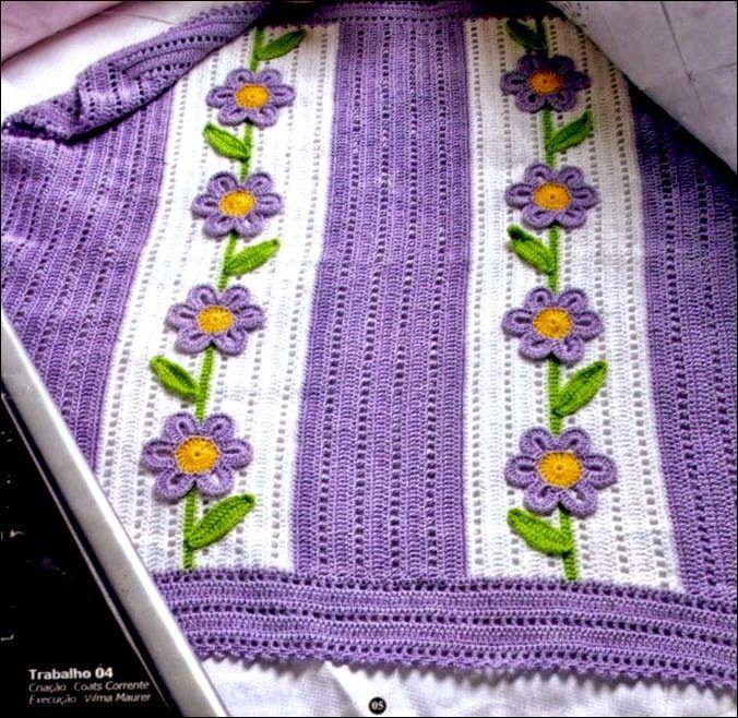 Manta con aplicaciones de flores al crochet todo crochet - Aplicaciones de crochet para colchas ...