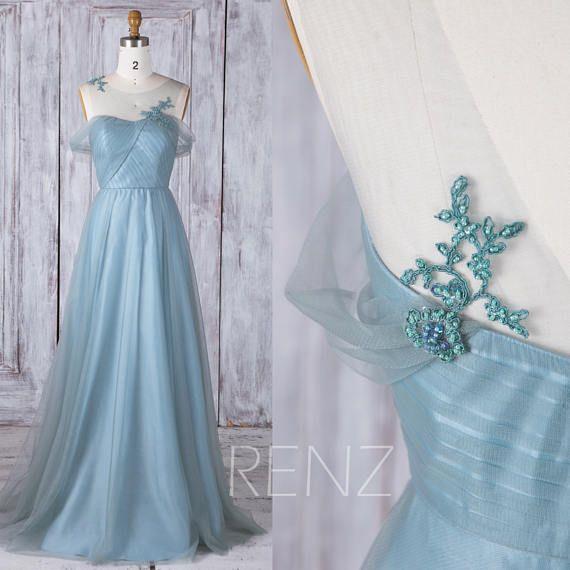 Bridesmaid Dress Dusty Blue Tulle Dress Wedding Dress