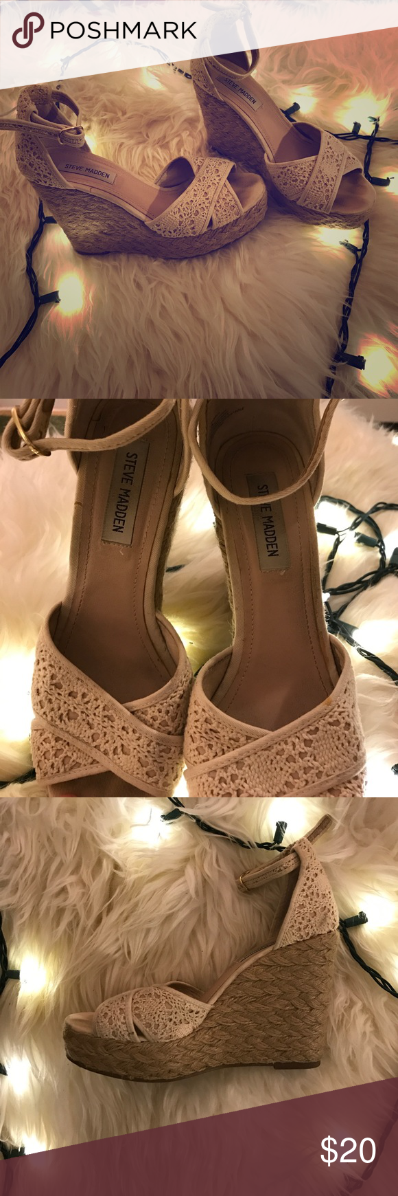 af0b478eea2 ✨Sale✨ Steve Madden Marrvil Crochet Cream Wedges | My Posh Closet ...