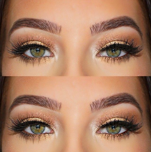 Hazel eye makeup  gold shimmer + cat eye #lorac