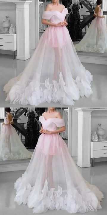 Pink Tulle wedding dress,See Through Prom Dresses, Off Shoulder bridal dress, floor length party gowns