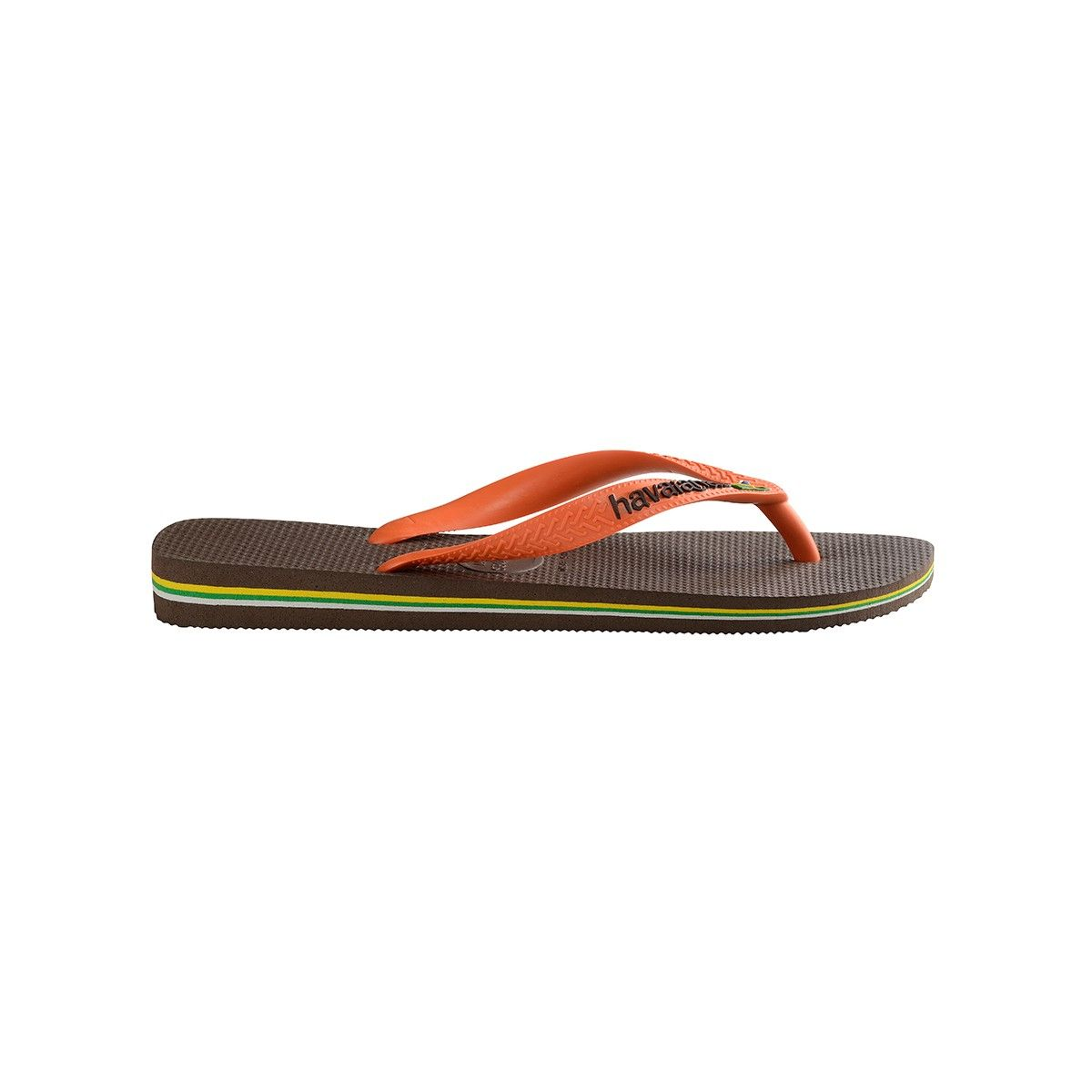 243a2b8ba59e Havaianas Brazil Logo Flip Flops Dark Brown Orange - 11 12