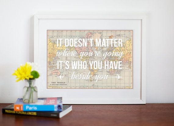 Wanderlust world map love map art travel quote personalised wanderlust world map love map art travel quote personalised wedding gumiabroncs Gallery