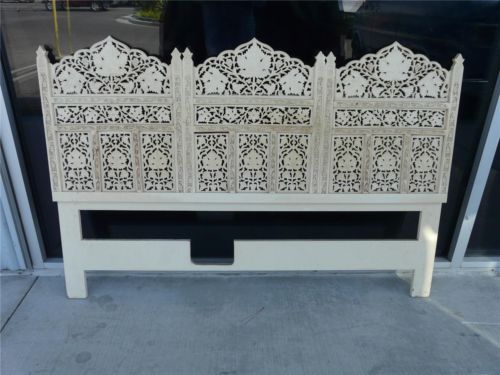 Vintage Anglo Indian Headboard Hand Carved Wood
