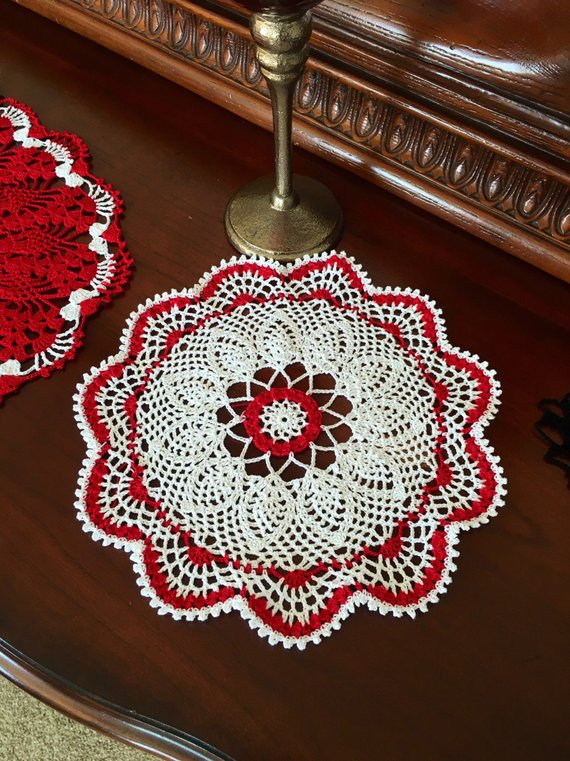 Round Lace Doily Crochet Farmhouse Decor Vintage Home Coffee Table Pinea