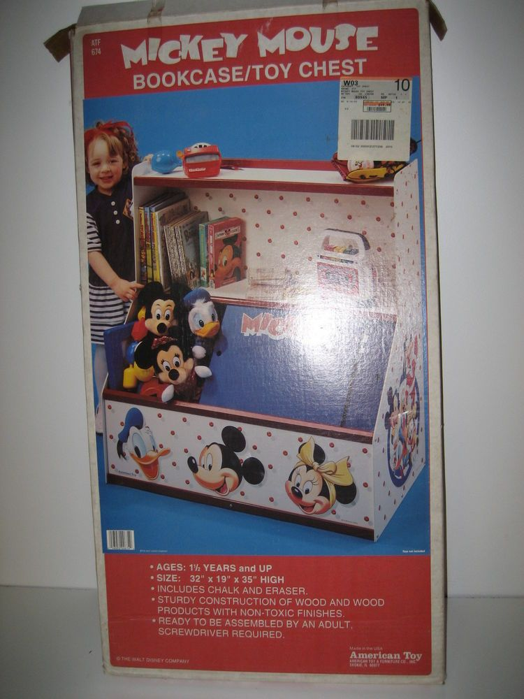 Vintage Mickey Mouse Bookcase Toy Chest American Wood Atf 674