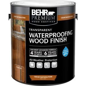 Behr Premium 1 Gal Cedar Naturaltone Transparent Waterproofing Wood Finish 50101 At The Home Depot Mobile Exterior Wood Stain Staining Wood Exterior Wood