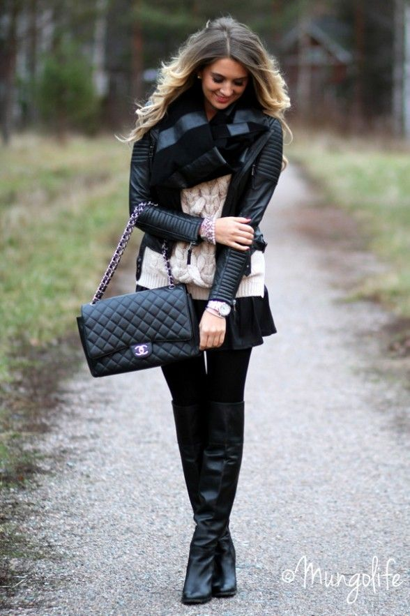 chunky sweater, flowy skirt, boots & scarf