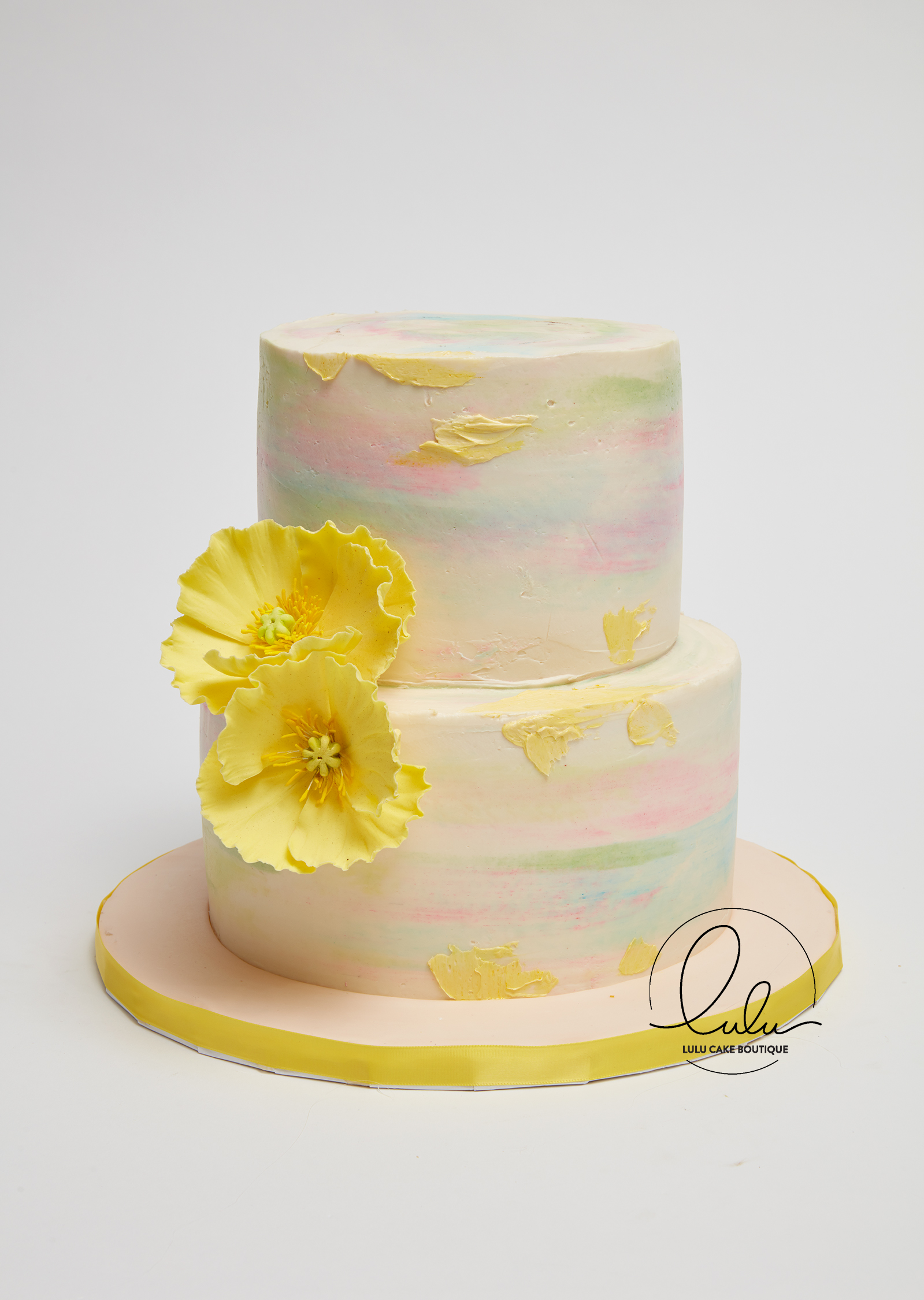 Multi Color Watercolor Cake with and Edible Yellow Flowers, 100 ...