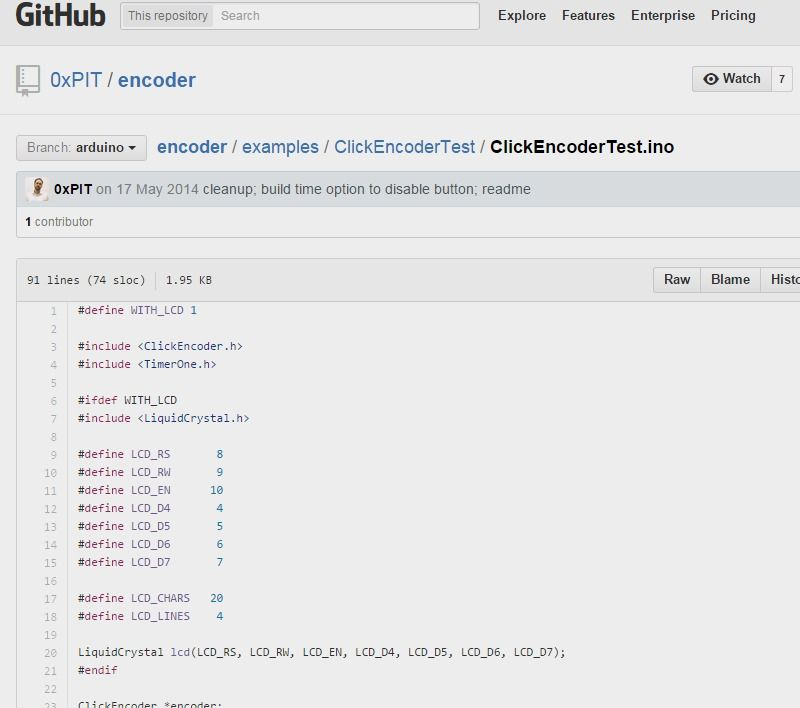 EncoderClickencodertestIno At Arduino  XpitEncoder  Github