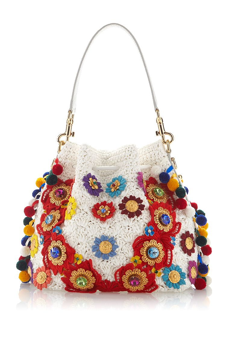 699550e83dc7 Claudia with Raffia Flowers & Crystal Stones Bucket Bag | Сумки ...