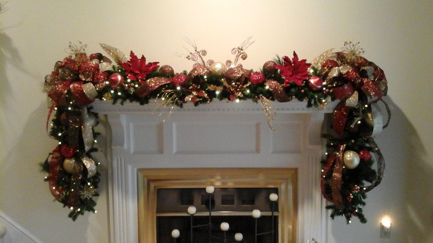 Christmas Fireplace Mantel Lighted Garland Xl Deluxe Luxury Fl Poinsettia Swag Bethlehem Battery Operated Lights Shipping Included By