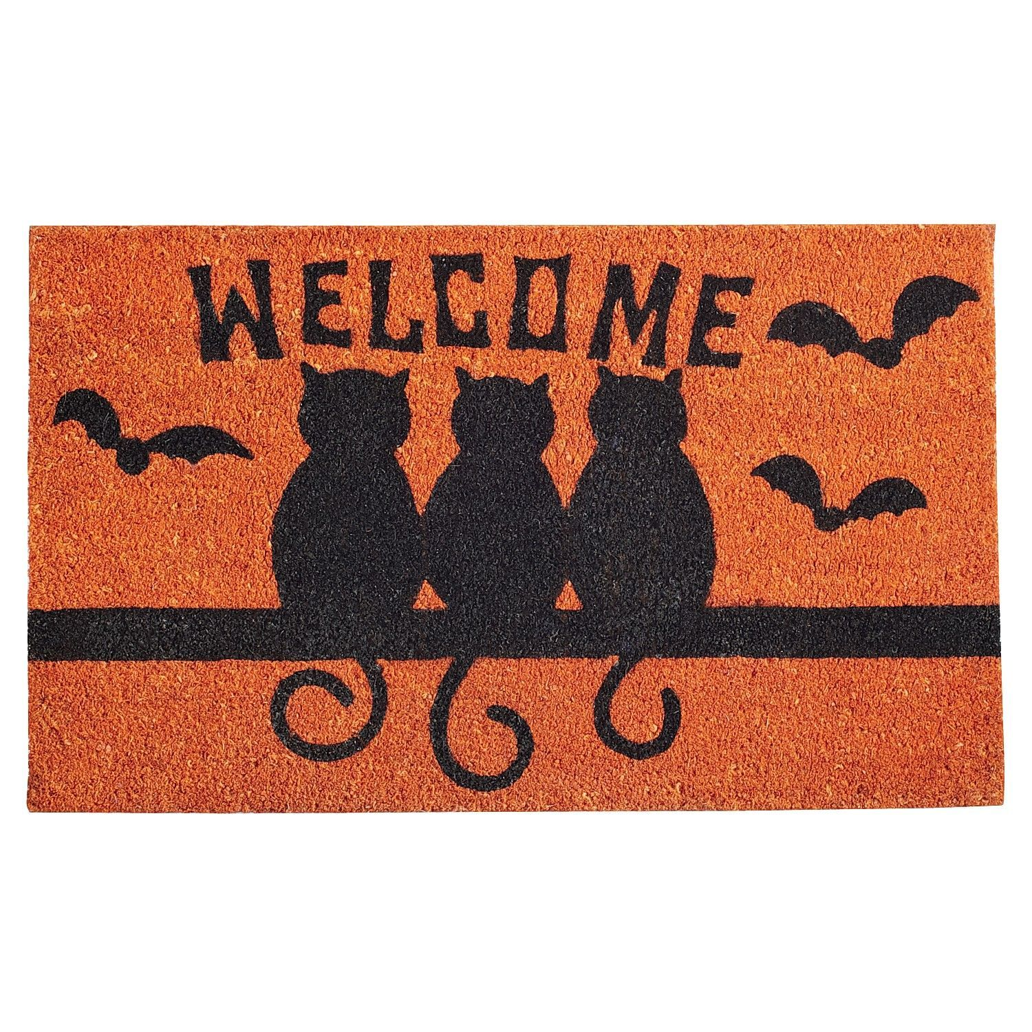 black cats halloween doormat to our backyard since front doormats