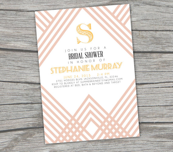 Stripe art deco bridal shower invitation digitalprintable mid new gatsby art deco bridal shower invitation by summerraine 1800 filmwisefo