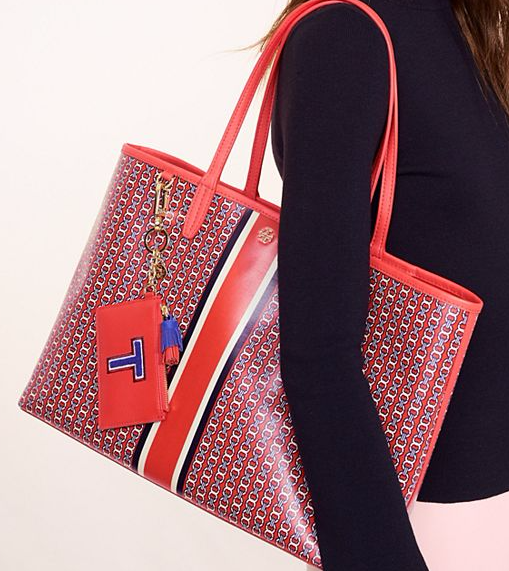 red tory burch tote bag