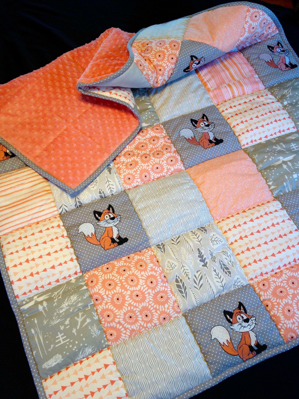 Minky Baby Blanket Crib Blanket Baby Gift Stroller Blanket Orange crib bedding Baby Blankets Kids Minky Polk a Dot Blanket