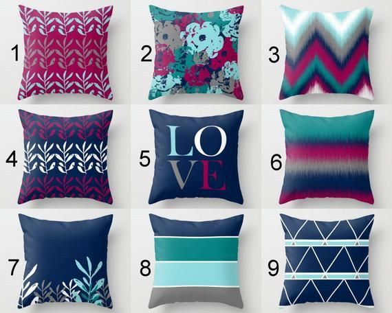 Throw Pillow Covers Fuchsia Navy Teal Aqua Grey White Mix And Match Decorative Pillows Decorative Pillows Throw Pillows Decorative Pillows Pillow Cover Design