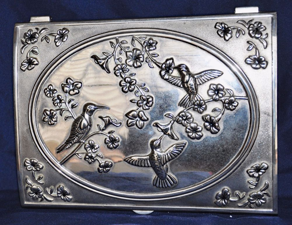 ORNATE GODINGER SILVER PLATED JEWELRY BOX REPOUSSE HUMMINGBIRDS