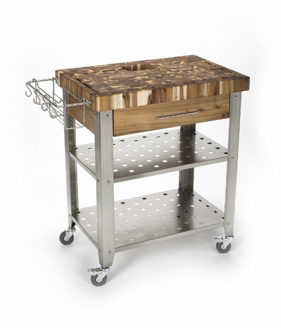 Chris & Chris Acacia-Wood Stainless Steel Kitchen Cart - 30\