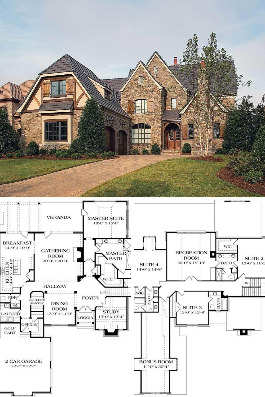 2 Story 4 Bedroom Ornate Tudor House Plan with Gambrel Roof Floor Plan