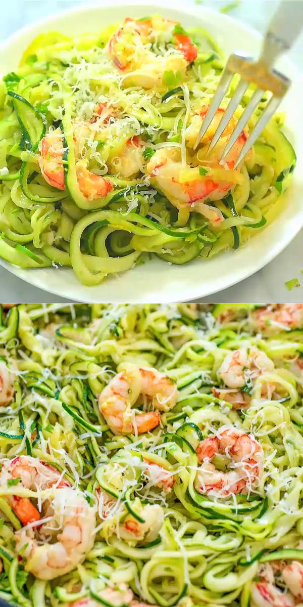 Shrimp Scampi with Zucchini Noodles #recipesforshrimp