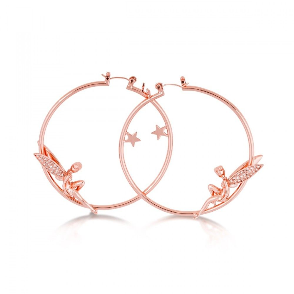 Disney Rose Gold-Plated Tinkerbell with Crystal Wings Hoop Earrings RPVHZT