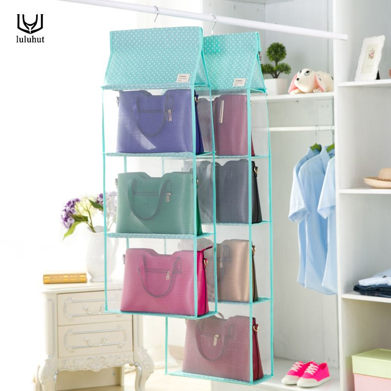 Luluhut 3 To 4 Pockets Big Size Bag Hanging Storage Closet Organizer Tote Bag Storage Organize Hanging Storage Storage Closet Organization Handbag Organization