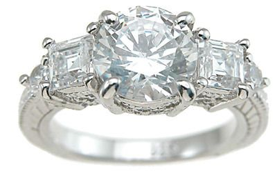 2.25ct 925 Sterling Silver Antique Princess Engagement Ring CZ FD-0417