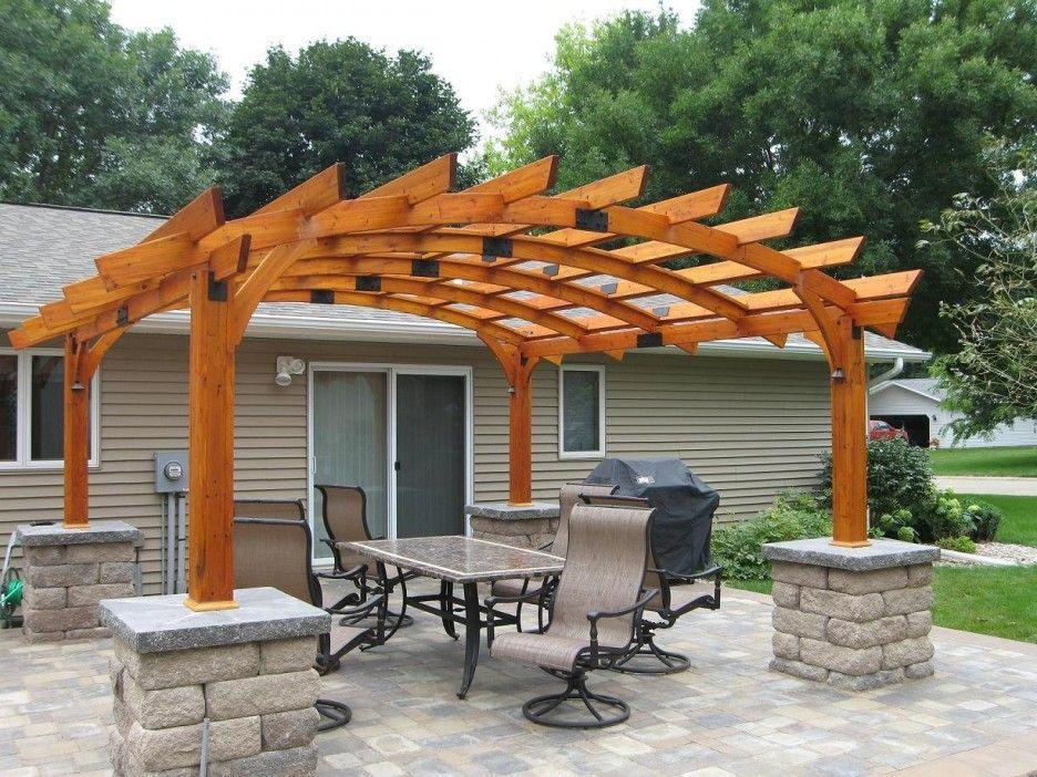 Exterior Curved Wooden Roof Pergola Ideas Feature Half Stones Base As Well As Furniture Deck Set And Small Patio Ba Outdoor Pergola Pergola Patio Pergola Plans