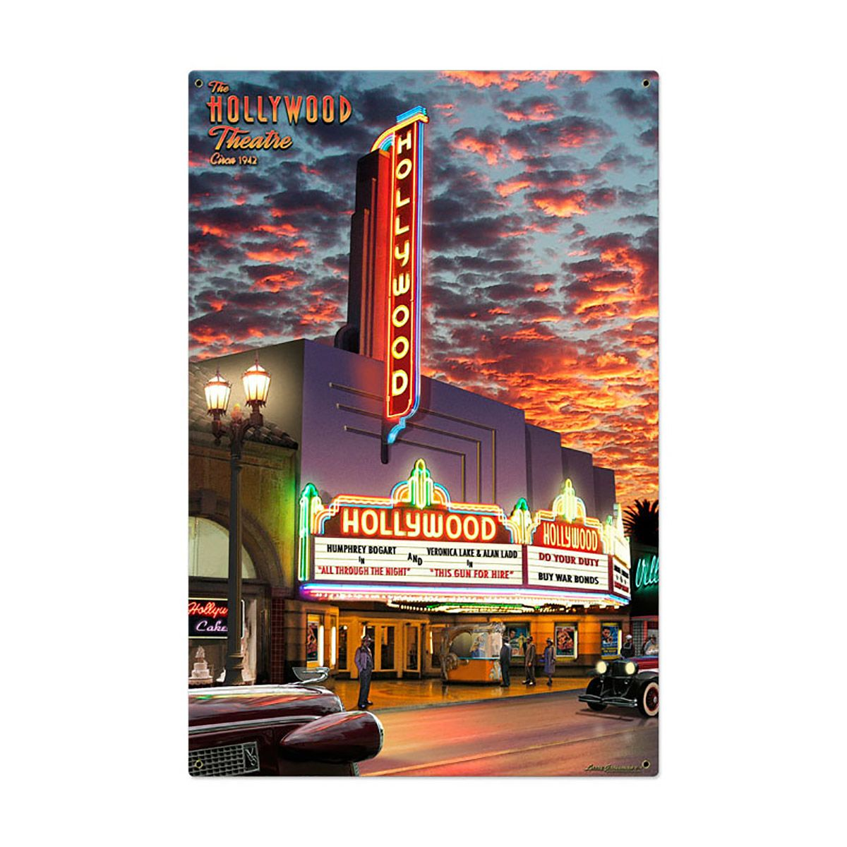 Hollywood Movie Theater Marquee Sign Large 24 x 36