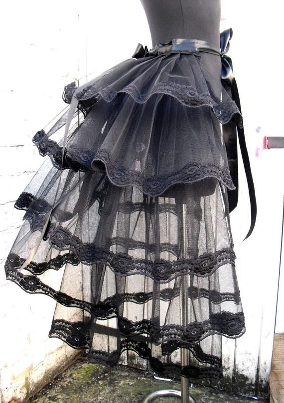 "Ladies 12/"" Black Cyber Rave Festival Tutu Halloween Witch Skirt"