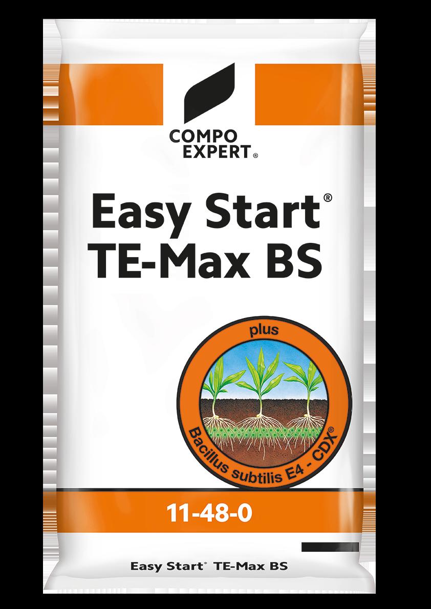 Easy Start® TE Max + B.S Σύνθεση: 11% N (11,0%), 48% P2O5 (46%υδατοδιαλυτός).  Ιχνοστοιχεία : 0,6%Fe, 0,1% Mn, 1,0%Zn.  Λίπασμα ΝΡ με υψηλή περιεκτικότητα σεφώσφορο και ιχνοστοιχεία.Περιέχει Bacillus subtilis που βοηθάει στην υγιή ανάπτυξη του ριζικού συστήματος.  Μέγεθος κόκκου: 0,5-1,5 mm.  Ενδεικτική δοσολογία2-4 κιλά ανά στρέμμα. Εφαρμογή μαζί με την σπορά σε ξεχωριστό δοχείο της σπαρτικής μηχανής.Η ενδεικτική δοσολογία επηρεάζεται από τηκαλλιέργεια και τη πυκνότητα φύτευσης.