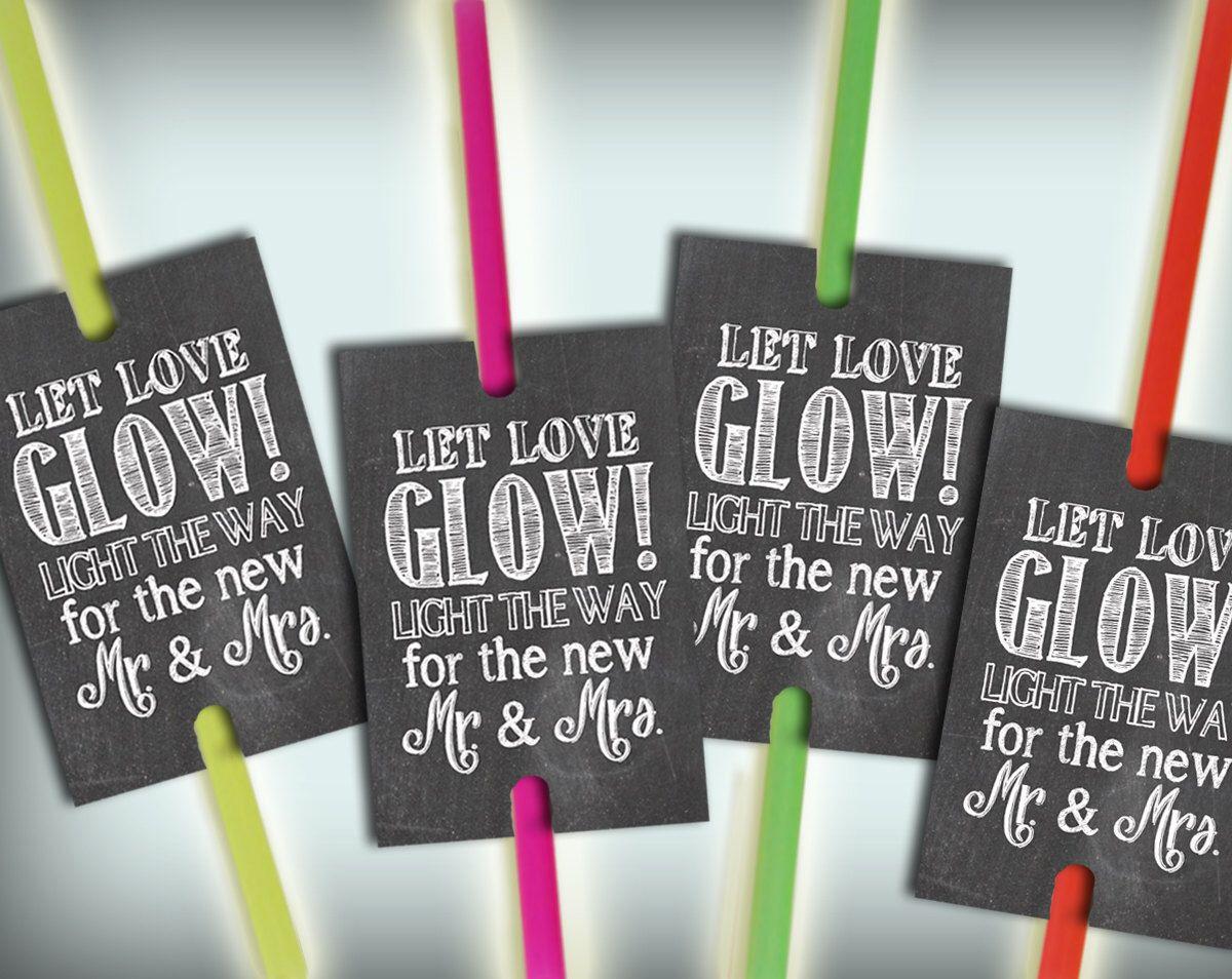 Glow Stick Tags Chalkboard Printable Glow Stick Send Off