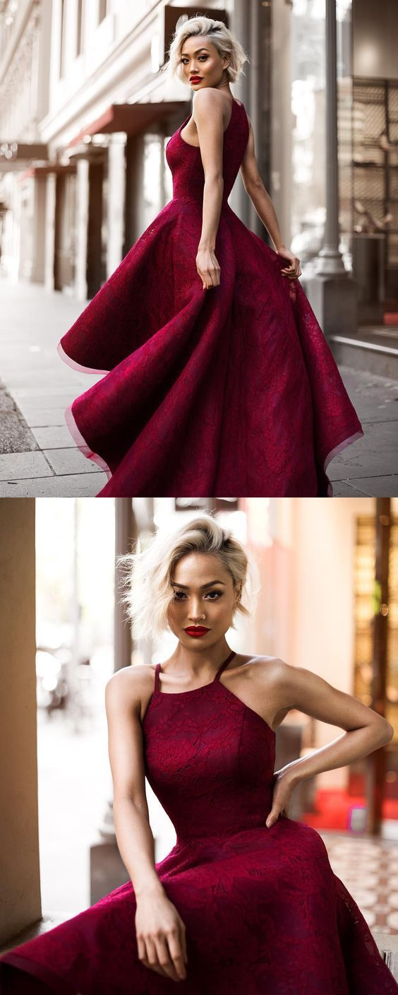 Chic burgundy hilow prom gowns formal evening dresses elegant