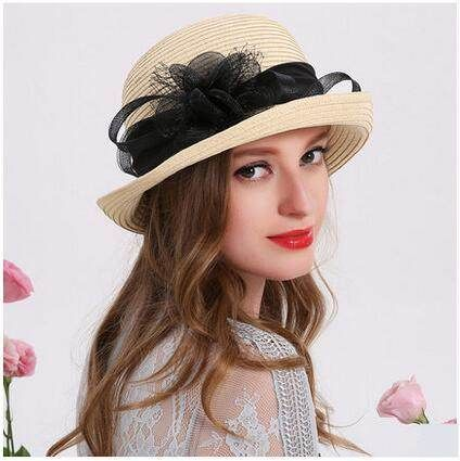 752fdec00fc Flower straw sun hat for women roll brim bucket hats summer wear ...
