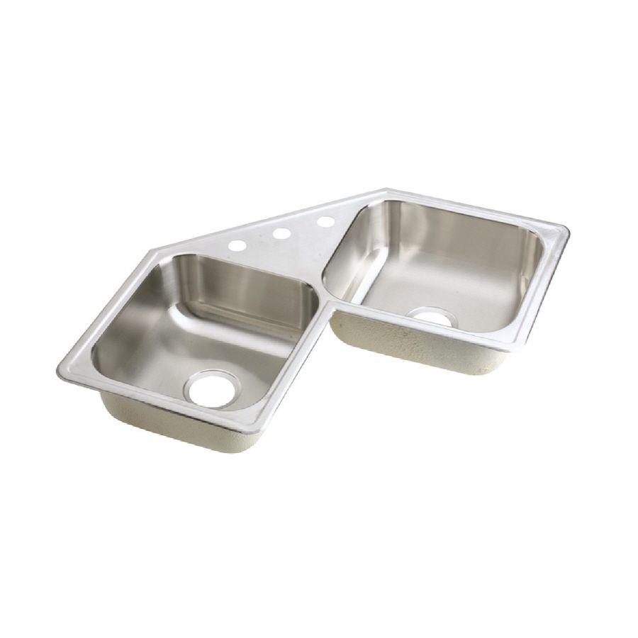 Elkay Dayton 31 875 In X 31 875 In Elite Satin Double Basin Stainless Steel Drop In 3 Hole Corner Installation Residential Kitchen Sink Lowes Com Drop In Kitchen Sink Elkay Sink