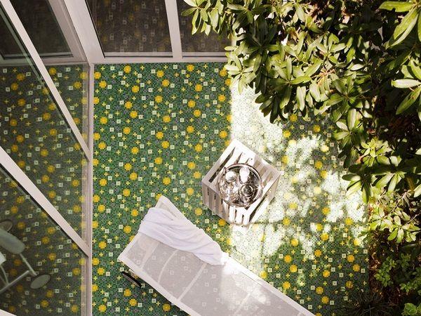 Mosaic tiles green garden terrace make