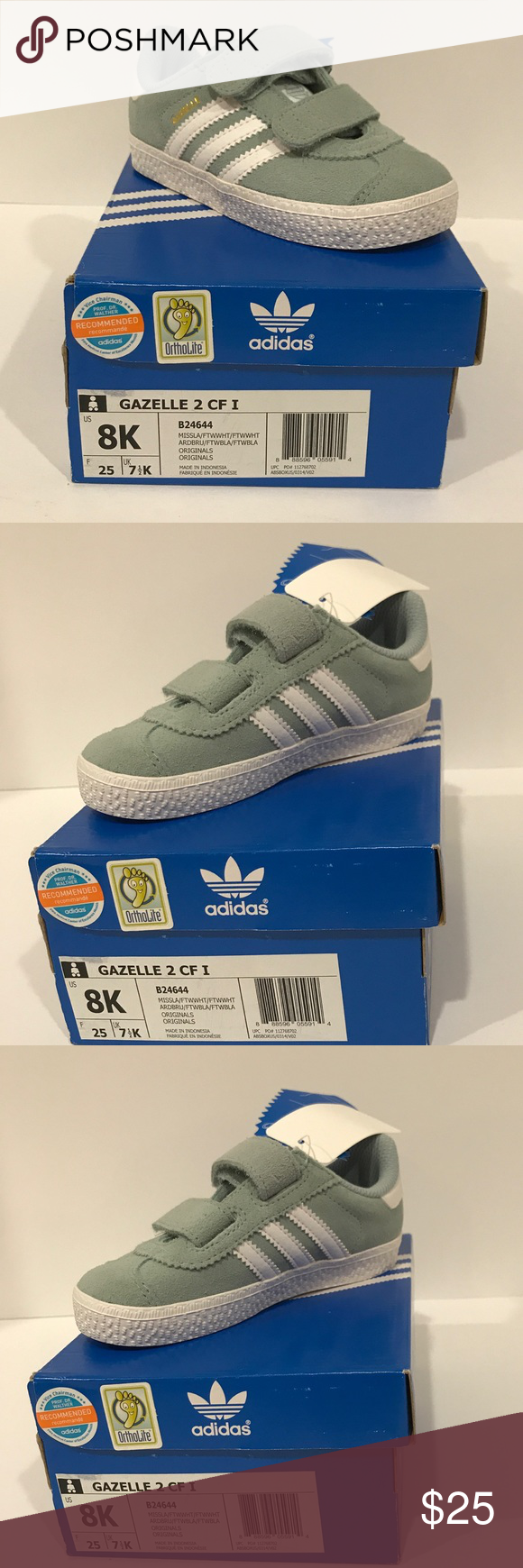 Adidas Gazelle Toddler Shoes Brand New with Tags Adidas Gazelle Shoe.  Color  Blueish grey  white stripe. adidas Shoes Sneakers a74eb36b4