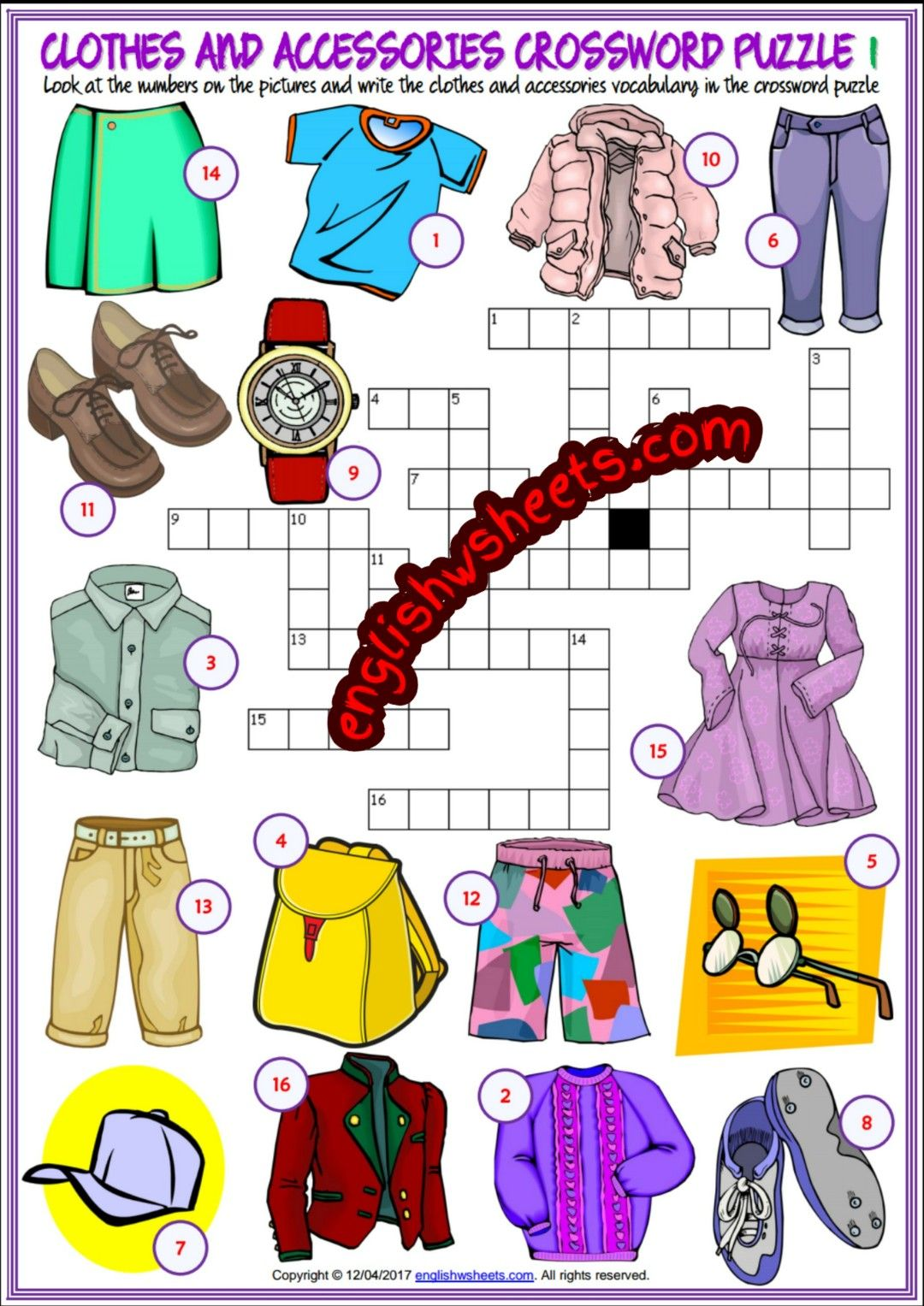Clothes and Accessories Esl Printable Crossword Puzzle Worksheets ...