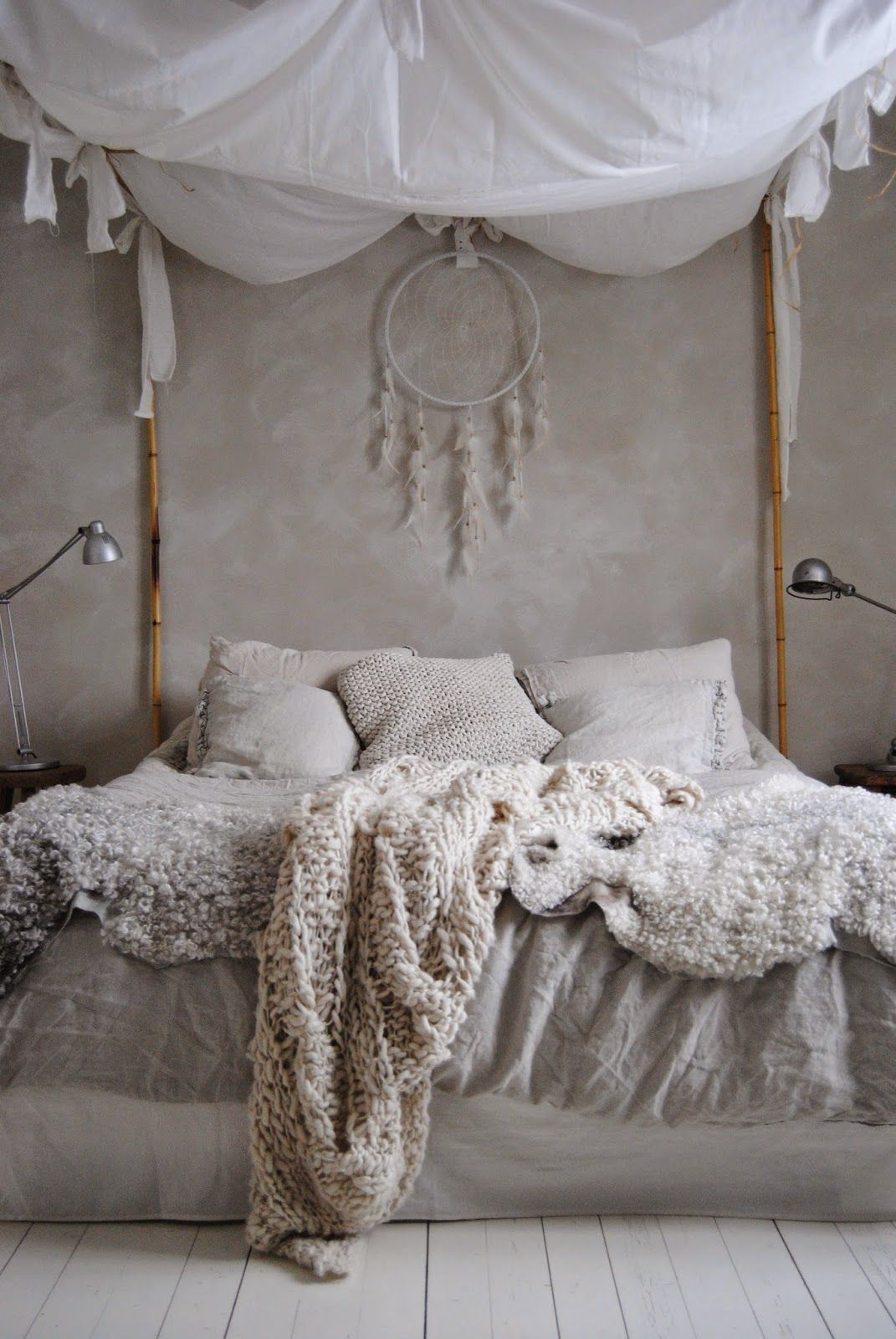 Romantic Boho bedroom canopy bed w/ bamboo sticks